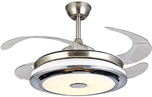 Ajuste De Ventilador De Techo Bluetooth Ajuste De Velocidad Remoto Inteligente ABS Invisible Blade Ventilador Colgante Iluminación con Lámpara De Fachadadera LED