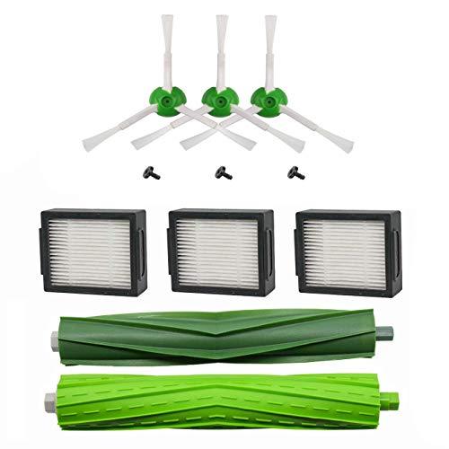 MAXDIRECT Kit de pièces de Rechange Compatible avec Roomba i7 i7+ E5 E6 E7 - Pack de brosses latérales, Rouleaux et filtres Hepa.