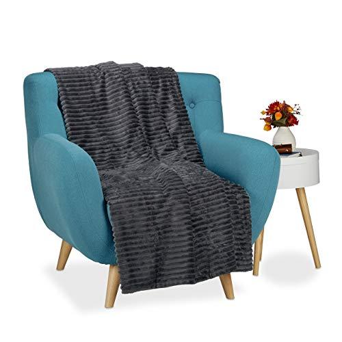Relaxdays grote gezellige deken, sprei 150x200, warm pluizig bank gooien effen antraciet