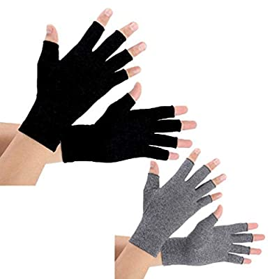 2 Pairs Arthritis Compression Gloves for Arthritis Pain Relief, Rheumatoid, Osteoarthritis and Carpal Tunnel for Men and Women, Fingerless for Typing (Large, Pureblack+Gray)