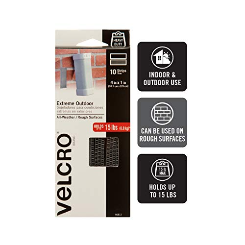 VELCRO Brand Outdoor Heavy Duty Strips | 4 x 1 Inch Pk of 10 | Holds 15 lbs | Titanium Extreme Hook and Loop Tape Industrial Strength Adhesive | Weather Resistance for Rough Surfaces (90812) Photo #2