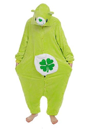 die glücksbärchis Care Bears onesiee Kigurumi Pyjama Karneval Kostüm Maskenkostüm Kapuzenpulli Schlafanzüge Lucky Bear, L(Height 170cm-180cm)