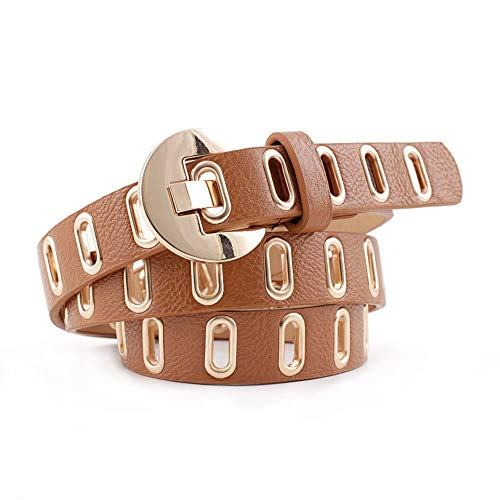 Punk riem Grommet Riem PU leer Double Punk Belt Buckle For Women Jeans Broeken Jurken Vrije tijd campus bar etc (Color : C, Size : 108CM)
