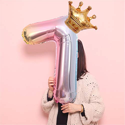 jieGorge Crown Number Foil Balloons Number Ballon Happy Birthday Party Decoration 32 Inch, Home Decor, for Christmas Day (H)