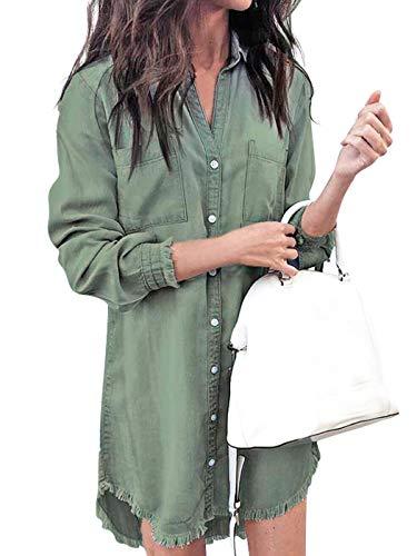 Edjude Camisa Larga Mujer Vestido Denim Casual Camisero Manga Larga Botón Solapa Cárdigan Fino con Borlas Verde Talla M(38-40)