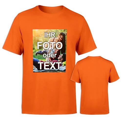 T-Shirt mit eigenem Foto Text Logo Name selbst gestalten * ringgesponnene Baumwolle * vollfarbig EINSEITIG Bedruckt * viele Farben, Farbe: Orange, Größe: XXL