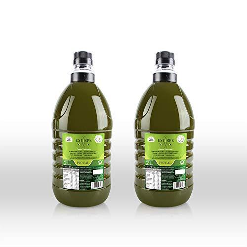 Aceite de Oliva Virgen Extra Premium Estirpe Sin Filtrar -PICUAL- 2 Garrafas de 2 Litros. Nueva Cosecha 2.019/20.