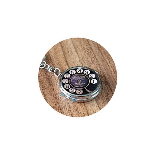 Altes Telefonzifferblatt – Nostalgischer Schmuck – Telefon Zifferblatt Anhänger – Telefon Taschenuhr Halskette – Payphone – alte Technologie Klappspiegel Reise tragbar