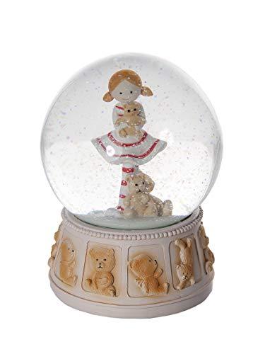 Mousehouse Gifts Pezzi da Collezione Statuine - Palle di Vetro Globo di Neve Meravigliosa Sfera di Vetro con Neve Ornamentale da Collezione con Bambina Piccola e Orso Peluche per Bambine