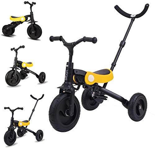 2年保証 子供三輪車 舵取り 棒 三輪車 2 歳 3 歳 三輪車 折りたたみ かじとり 補助 付き 人気 回転式 一台四役 幼児用トライク12ヶ月から6歳まで使 手押し棒付き お出かけ 乗用玩具 子供 用 三輪 自転車