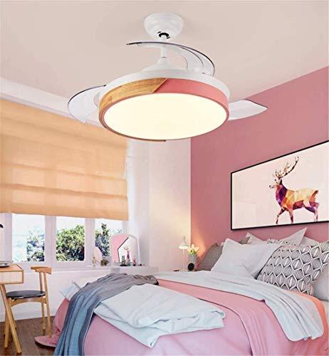 Ventilador de techo con luz LED y mando Macarons simples modernos Acrílico regulable oficina creativa dormitorio cuarto de los niños Niños y Niñas juegos Decoración Luz eléctrica, 91cm ( Size : 91cm )