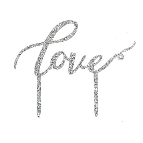 Love Cake Topper, Wedding/Engagement/Anniversary Party Decoration, Bridal Showe Party Favors- Silver Color Acrylic