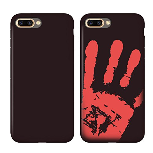 Thermal Sensor Compatible for iPhone 7 Plus Case iPhone 8 Plus Case(5.5Inch) Magical Color Changing Thermal Sensor Fluorescent Thermal Heat Induction Scratch-Resistant Matte Back Case-2 Black