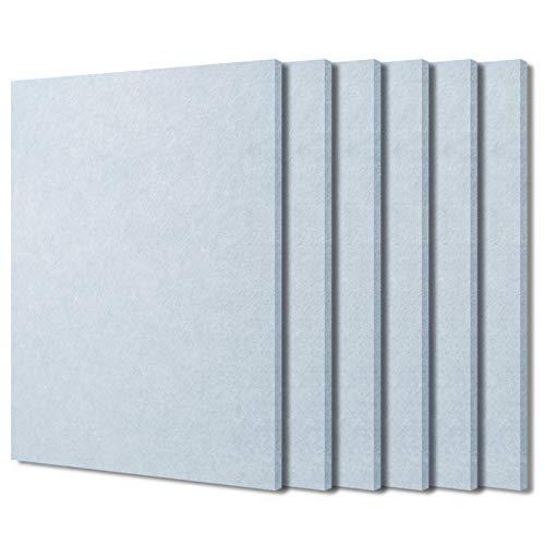 BXI Schallabsorber – 400 x 300 x 9 mm, 6 Stück, hochdichte Schalldämpfungsplatte, schallabsorbierende Paneele reduzieren Echo Reverb, takable akustische Filzfliesen für Decke und Wand (rauchgrau)