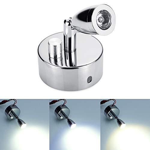 C-Funn LED-leeslamp, chroom, met draaiknop, dimming, 12 V, 1 W, voor caravan, camper, van/boot Bianco naturale