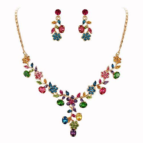 EVER FAITH Österreichische Kristall Braut Blume Blatt Halskette Ohrringe Set bunt Gold-Ton