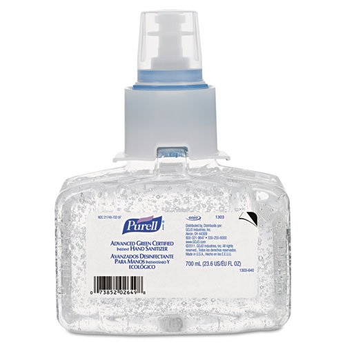 PURELL Advanced Green Certified Instant Hand Sanitizer Refill Gel, 700 mL - Includes three per case.