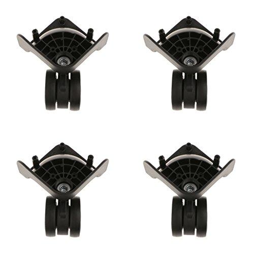 Sharplace Kit 4 Roulette Valises Bagages Gauche et Droite en Plastique Pivotant Roue Universelle de Remplacement - YJ-2011 Noir