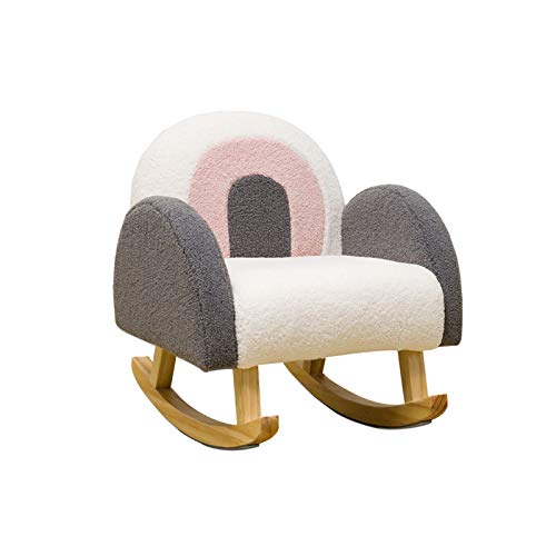 Rocking Chair Multifunctional Children's Armchair, Retro Design Relax Chair,Upholstered Accent Chair for Nursery, Playroom, Bedroom and Living Room, Kids Cushioned Arm Chair
