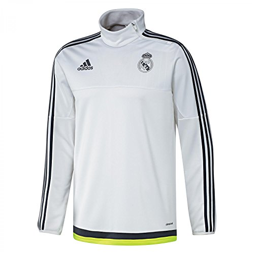 adidas, Felpa Uomo Real Madrid, Bianco (White/Deepest Space/Solar Yellow), S