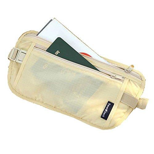 Cinturón Viajero para Dinero;Cinturón Documentos De Viaje Pasaporte. Bolso Tipo Koala Oculto. - Beige