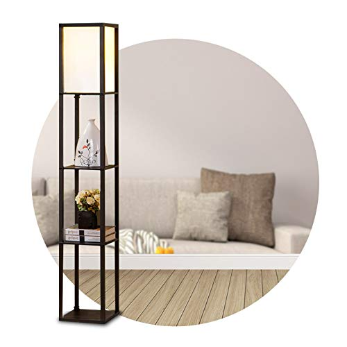 YOURLITEAMZ Modern Floor Lamp with 3-Layer Shelves for Office, Home, Living Room, Bedroom Saving Space, Decoration (Without Bulb)