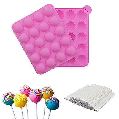 Silikon Cake Pop Backform für 20er Runde Stiele Kuchen - Lollipop Formen mit 220 Lollipop Sticks - für Brownies Pies Bonbons Schokolade Süßigkeiten, BPA-frei, Rosa