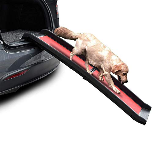 Hundetreppe Tragbare Faltbare Hunderampe, Faltrampe für Haustiere, Auto/SUV Rampe für Hunde, Rutschfeste Oberfläche, Langlebig & Leicht, 155cm Länge, Hält Bis Zu 200 Lbs