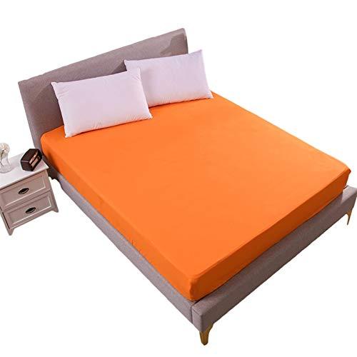 Madrasskåpa Queen Size-säng Djupficka Andas Och Ljudlös Pad Bäddmadrass Kudde Beskyddare Sängkläder Varmt Skydd För Husdjur Barn Vuxna (Color : Orange, Size : 200cmX200cmX30cm)