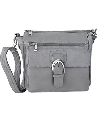 Roma F.C. Black Right or Left Draw Crossbody/Shoulder Carry - Leather Locking Concealment Purse/Gun Bag - CCW Concealed Carry Pistol, Gray