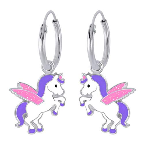 FIVE-D Pendientes infantiles de aro con diseño de unicornio Pegasus, plata de ley 925, en...