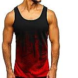 Débardeur Homme Été Style Hip Hop sans Manches Homme Tank Top Mode Impression T-Shirt Basique Col Rond Shirt Lumière Wicking Respirante Homme Maillot Corps D-Red L