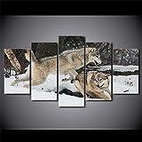 ZHONGZHONG Cuadros Modernos Impresión De Imagen Artística Digitalizada,Lienzo Decorativo para Tu Salón O Dormitorio con Marco Pareja De Lobos Jugando - Animal 5 Piezas 150X80Cm