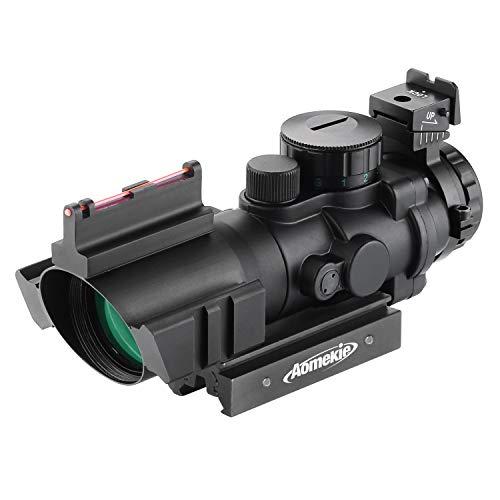AOMEKIE Zielfernrohr 4x32mm mit Fiberoptic und 11mm/22mm Schiene Airsoft Red Dot Visier Sight Leuchtpunktvisier Rotpunktvisier für Jagd Softair und Armbrust