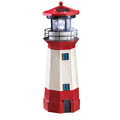 Collections Etc Solar Nautical Lighthouse Statue with Spinning Light, Ocean and Beachhouse Inspired Decor, Red