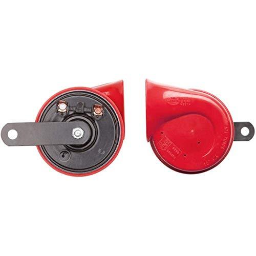 HELLA 3FG 007 424-001 Fanfare - TE16 - 12V - 110dB(A) - Frequenzbereich: 400Hz - Tiefton - elektrisch - Gehäusefarbe: rot/schwarz - Flachsteckanschluss