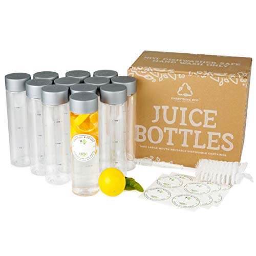 Everything Eco Wide Mouth Empty Plastic Bottles with Caps and Bottle Brush. 12x 16 oz Bottles - Clear Bottles for Smoothie Bottle, Juice Bottles with Lids, Sensory Bottles Empty Bottles and Juicing
