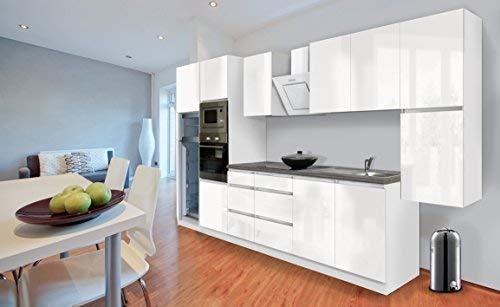 respekta Premium grifflose Küchenzeile Küche 385 cm Weiss Hochglanz inkl. Softclose/Kühl-Gefrierkombination 144 cm & Glaskeramikkochfeld