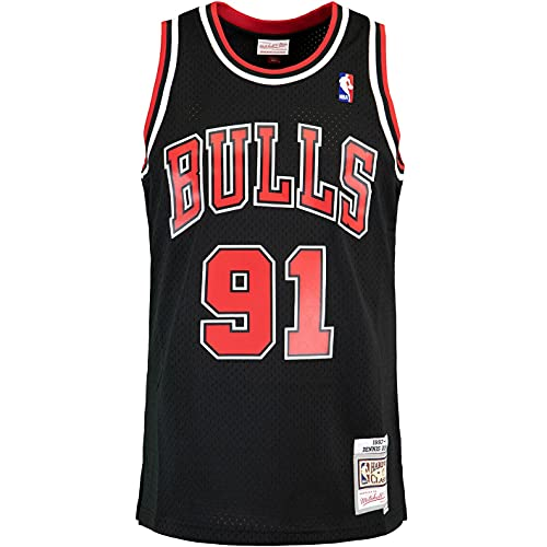 Mitchell & Ness Swingman Dennis Rodman Chicago Bulls 97/98 - Camiseta (talla XL), color negro