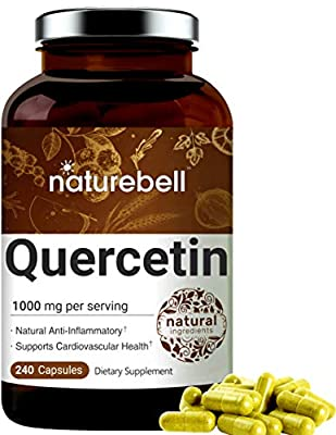 NatureBell Quercetin 1000mg Per Serving, 240 Capsules, Powerfully Supports Cardiovascular Health, Immune System and Bioflavonoids for Cellular Function, No GMOs and Made in USA.