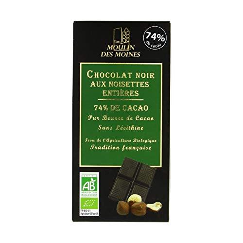 Moulin Des Moines - Chocolat noir 74% aux noisettes entières 3x100G Bio - Tarif Dégressif - Option Cadeau