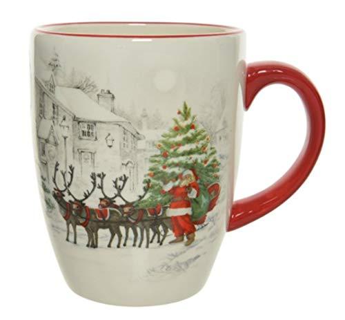 Tazza natalizia, rossa, verde e bianca, con Babbo Natale e renna, in ceramica, per tè, caffè, cioccolata calda, 10 cm