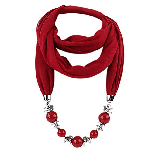 GreatestPAK Damen Schal Perle Anhänger Ring Bib Schmuck Halskette National Wind mit Quaste Strass Schals