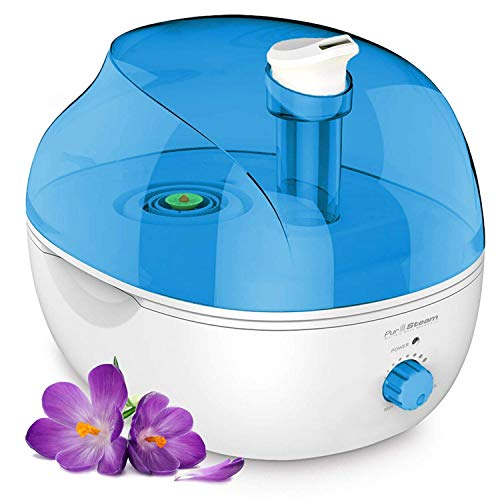 PurSteam 4L Ultrasonic Cool Mist Humidifier – Superior Humidifying Unit with Whisper-Quiet Operation, Automatic Shut-Off, and Night Light. Large Water Tank Allows Over 20 hrs of Operating Time