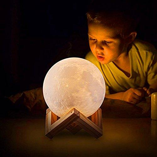 3D Mond Lampe, USB Aufladung Night Light 3D Printing Moon Lamp, Warm und Cool White Dimmable Touch Control Helligkeit, Lunar Mood Lampe für Innenraum Innenbeleuchtung(13cm)