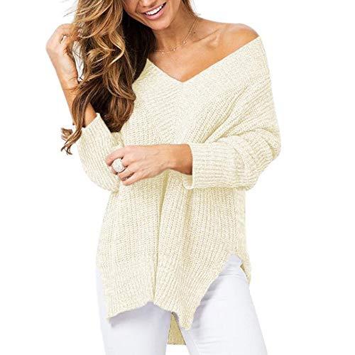 Damen Pullover, High-End Fashion Herbst und Winter, Vorder-und Rückseite Lange Split Gabel mit V-Ausschnitt-Pullover-Strickjacke,Apricot,S