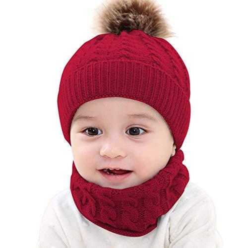 Conjunto de Gorro con Pompón y Bufanda Circular para bebé, Lana Infantil Cálida, Niño, Niña, de 0 a 2 años. (Beige, Gris, Hueso, Negro y Vino). (Vino)