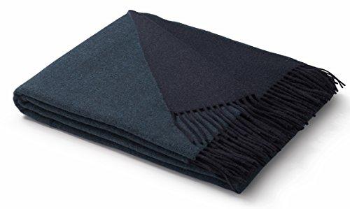 biederlack® weiche Kuschel-Decke Wool-Mix in dunkelblau-türkis I aus Wolle & Kaschmir I Öko-Tex Zertifiziert I Plaid in 130x170cm | perfekt geeignet als Tagesdecke und Sofa-Decke I top Qualität