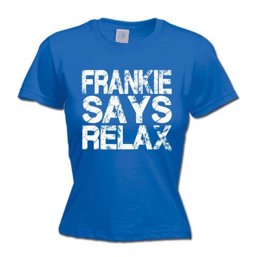 Ladies Royal Blue Distressed Frankie Says Relax T-shirt, S to XXL