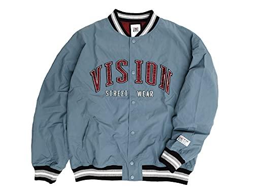 VISION スタジャン ヴィジョンストリートウェア 2021AW ナイロン ワッペン スタジアムジャンパー メンズ ビジョン スタジアムジャケット (ブルーグレー, LLサイズ)